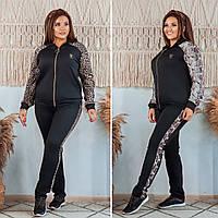 Стильный прогулочный женский костюм с анималистическим принтом 48 50 52 54 56 58 черный леопард рептилия
