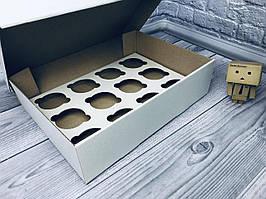 *10 шт* / Коробка для 12-ти кексов / 340х250х90 мм / ГОФРА бел-бур / б.о.