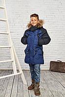 Зимняя куртка на мальчика Maz Juang черно-синий цвет 8837
