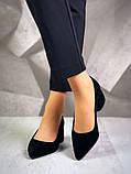 Элегантные черные замшевые туфли на каблуке, фото 5