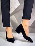 Элегантные черные замшевые туфли на каблуке, фото 2