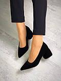 Элегантные черные замшевые туфли на каблуке, фото 7