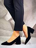 Элегантные черные замшевые туфли на каблуке, фото 9