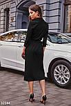 Ділове плаття на запах довжини міді чорне, фото 3