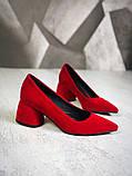Элегантные красные замшевые туфли на каблуке, фото 3