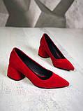 Элегантные красные замшевые туфли на каблуке, фото 4