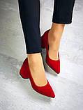 Элегантные красные замшевые туфли на каблуке, фото 6