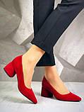 Элегантные красные замшевые туфли на каблуке, фото 7