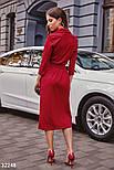 Деловое платье на запах длины миди красное, фото 3