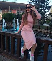 Женское замшевое платье миди под горло