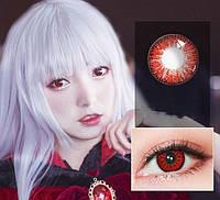 Цветные линзы для глаз, красные + контейнер для линз в подарок