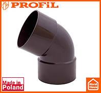 Водосточная пластиковая система PROFIL 90/75 (ПРОФИЛ ВОДОСТОК). Колено двухраструбное Ø75 60°, коричневый