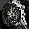 Стильные мужские часы Winner Skeleton + Подарок! портмоне Baellerry Italia - Фото