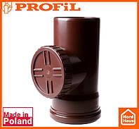 Водосточная пластиковая система PROFIL 90/75 (ПРОФИЛ ВОДОСТОК). Ревизия без решетки, коричневый