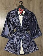 Халат женский мраморный велюр, одежда для дома.