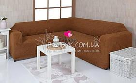 Чехол универсальный на угловой диван без оборки Venera (натяжной) горячий шоколад
