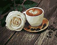 Картина по номерам Кофе и Белая роза