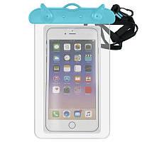 Водонепроницаемый чехол для телефона, голубой с прозрачным, Для телефона, Водонепроникний чохол для телефону, блакитний з прозорим