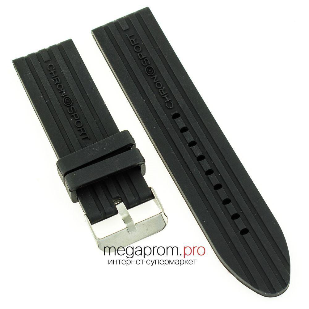 Ремешок для часов силиконовый 24 мм черный (08034)