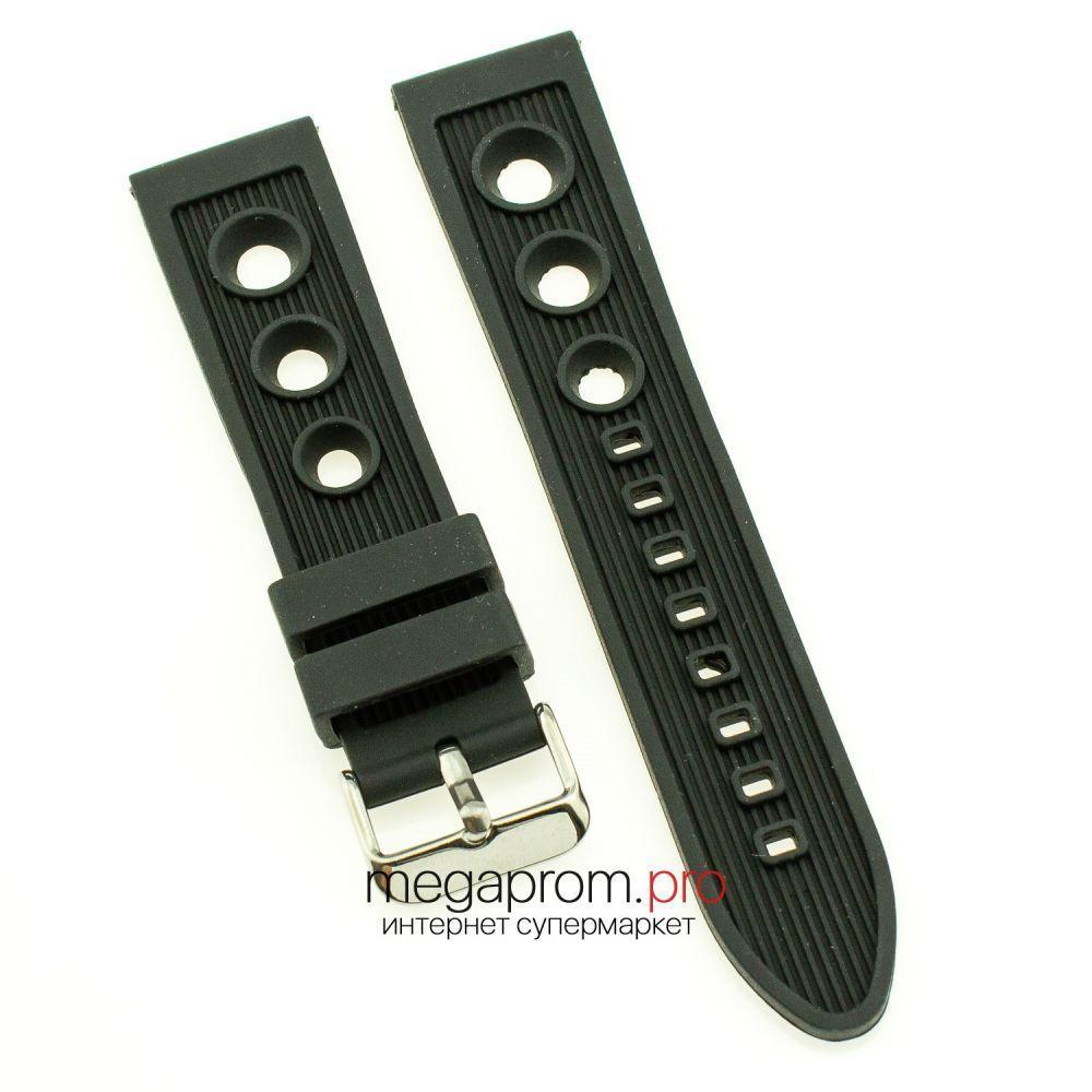 Каучуковий ремінець для годинника універсальний 22 мм чорний (08047)
