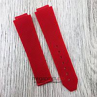 Каучуковый ремешок для часов Hublot Big Bang 21х18 мм красный (08094)