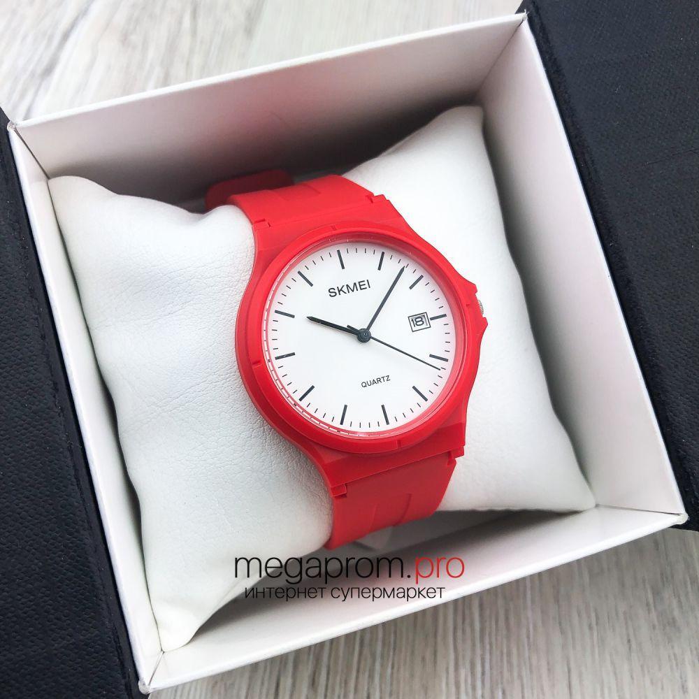 Оригінальні наручні Годинники Skmei червоні з білим циферблатом (08096)