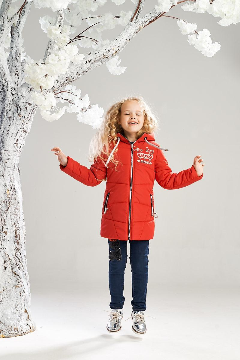 Удлиненная демисезонная куртка от Ananasko красный цвет 7234