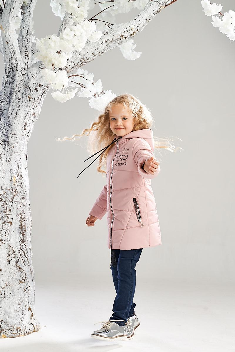 Удлиненная демисезонная куртка от Ananasko розовый цвет 7233