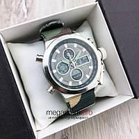 Чоловічі Армійські наручний годинник AMST сталь з сірим циферблатом/ремінець камуфляж AM3003 (08113)
