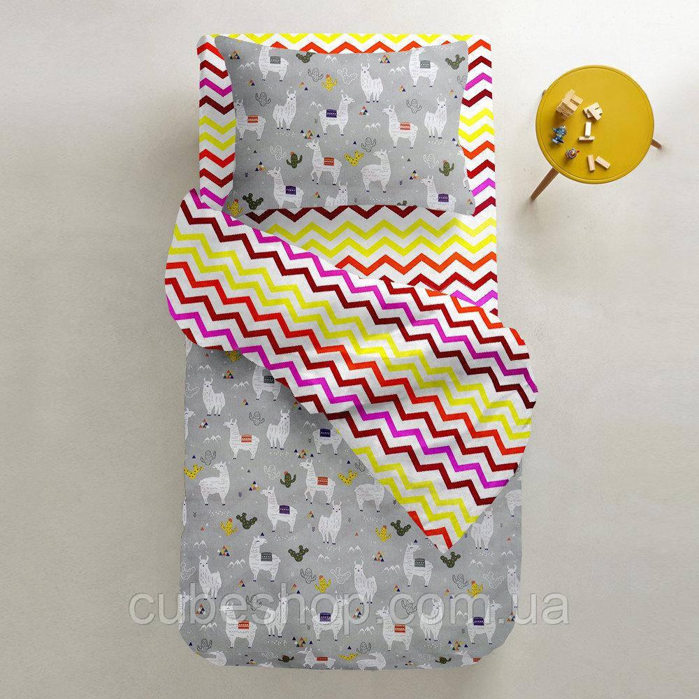 Комплект полуторного постельного белья CAMEL /зигзаг красно-желтый/ (хлопок, ранфорс)