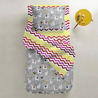 Комплект полуторного постельного белья CAMEL /зигзаг красно-желтый/ (хлопок, ранфорс), фото 1