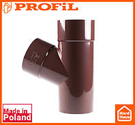 Водосточная пластиковая система PROFIL 90/75 (ПРОФИЛ ВОДОСТОК).Тройник редукционный Ø100/75/67º, коричневый