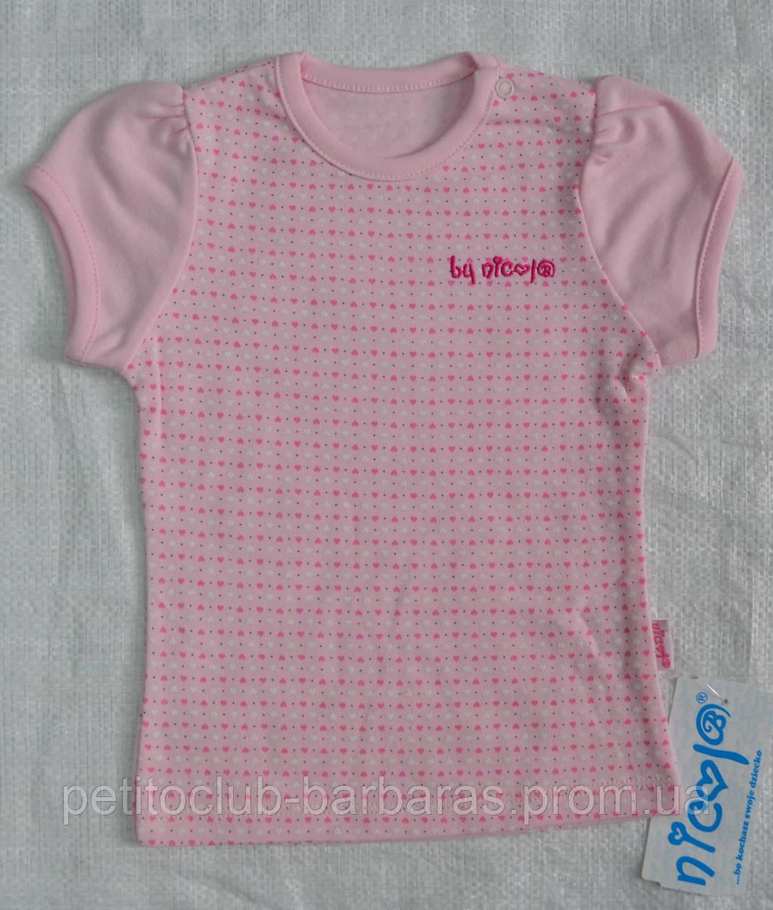 Детская футболка для девочки розовая р. 80-92 см (Nicol, Польша)