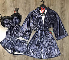 Велюровый набор одежды для сна и дома  пижама+халат.