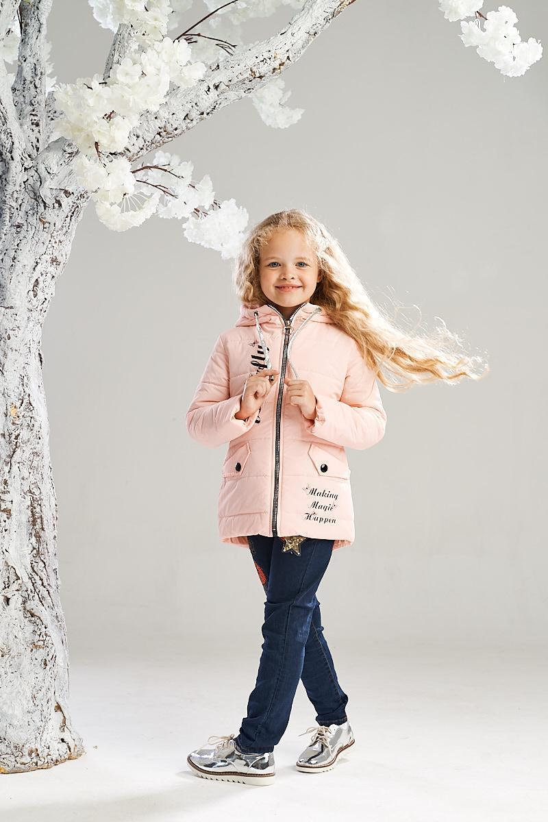 Нежная весенняя куртка на девочку от Ananasko персиковый цвет