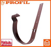 Водосточная пластиковая система PROFIL 90/75 (ПРОФИЛ ВОДОСТОК). Держатель желоба метал 90, коричневый