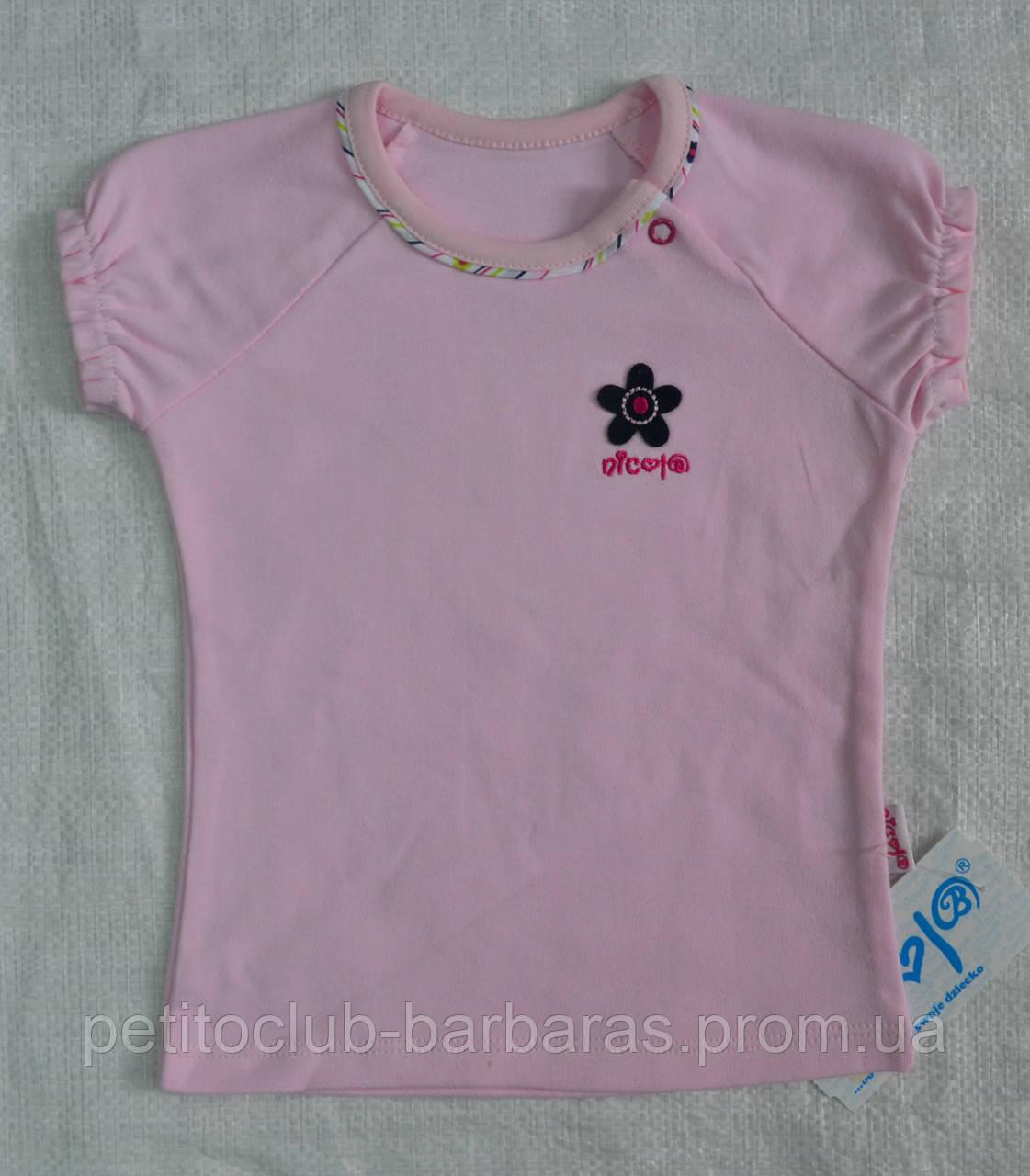 Детская летняя футболка для девочки розовая р. 80-98 см (Nicol, Польша)