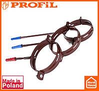 Водосточная пластиковая система PROFIL 90/75 (ПРОФИЛ ВОДОСТОК). Держатель трубы метал L100 , коричневый
