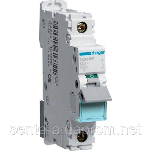 Автоматический выключатель 1 пол. 6А тип С 10КА NCN106 HAGER