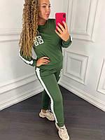 Женский спортивный костюм 097 весна-осень большой размер (50 52 54 56) (цвет хаки) СП