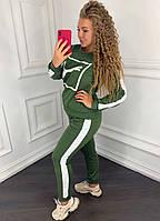 Женский спортивный костюм 097 весна-осень большой размер (50 52 54 56) (цвет хаки) СП, фото 1