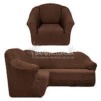 Чехол универсальный на угловой диван с креслом без оборки Venera (натяжной) шоколад