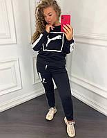 Женский спортивный костюм 097 весна-осень большой размер (50 52 54 56) (цвет черный) СП