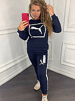 Женский спортивный костюм 097 весна-осень большой размер (50 52 54 56) (цвет т.синий) СП