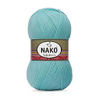 Пряжа Nako Nakolen 5 13 мята (нитки для вязания Нако Наколен 5) 49% шерсть - 51% премиум акрил