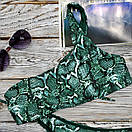Купальник женский раздельный со змеиным принтом на одно плечо зеленый, фото 3