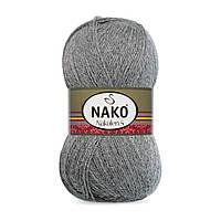 Пряжа Nako Nakolen 5 193 темно-серый (нитки для вязания Нако Наколен 5) 49% шерсть - 51% премиум акрил