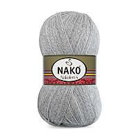 Пряжа Nako Nakolen 5 194 светло-серый (нитки для вязания Нако Наколен 5) 49% шерсть - 51% премиум акрил