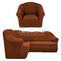 Чехол универсальный на угловой диван с креслом без оборки Venera (натяжной) горячий шоколад