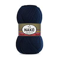 Пряжа Nako Nakolen 5 148 темно-синий (нитки для вязания Нако Наколен 5) 49% шерсть - 51% премиум акрил
